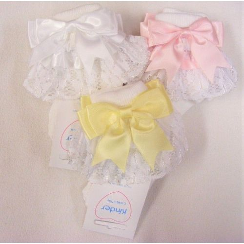 White Frilly Sock with Ribbon Double Bow